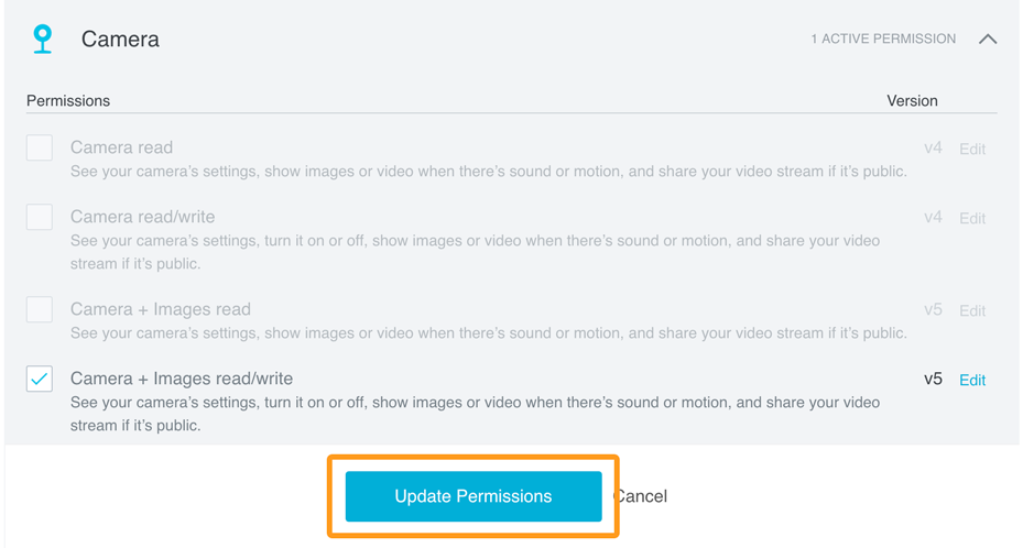 Save edited permissions